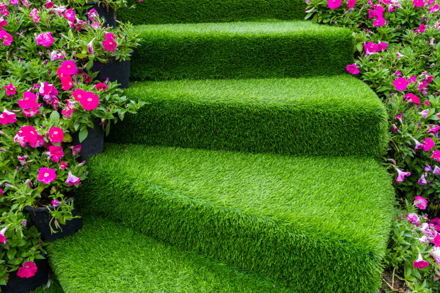 Artificial grass on stairs