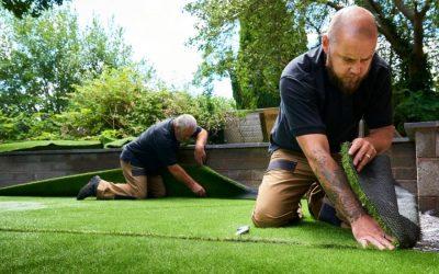 Men installing Vegas Artificial Grass